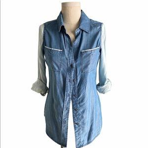 Bebe Colorblock  Button Down Denim shirt
